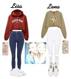 """Hanging out with Jennifer and Naomi.-Lisa and Lena"" by cecilia-bella ❤ liked on Polyvore featuring beauty, Topshop, adidas Originals, adidas and Casetify"