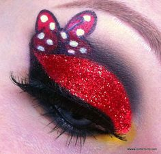 Minnie Mouse makeup look...a bit gaudy, but can be toned down
