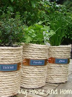 {DIY} Sisal Wrapped Coffee Cans For Herbs