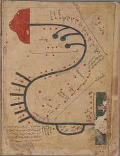Map of the Indus, from 'Kitāb Gharāʾib al-funūn wa-mulaḥ al-ʿuyūn' (The Book of Curiosities of the Sciences and Marvels for the Eyes), a 12th/13th century cosmographical manuscript composed in Egypt