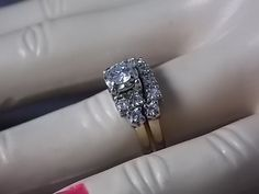 1950s Diamond Bridal Ring Set .92Ctw Yellow by estatejewelryshop