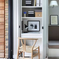 """Spied this office in a cupboard on @houseandgardenuk - especially good for those of us who have limited space or work in """"public"""" spaces in our home - when you're finished you can hide your office mmmmmm. Thoughts? #smallspaces #officenook #closetoffice #inspiration #decor"""