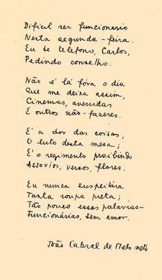 Carta de João Cabral a Carlos Drummond. #poesia