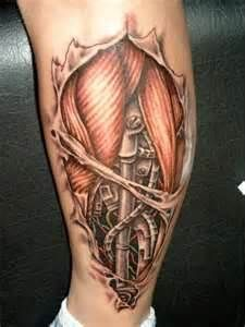Bio Mechanical Tattoo On The Calf