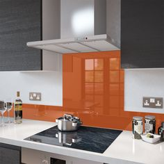 Orange Glass Splashback Upstand IN 140mm X 1000mm | eBay