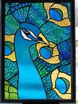 Leaded Stained Glass Peacock Window