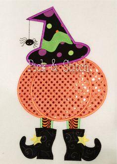 Witch Pumpkin Girls Halloween Applique Design by pickandstitch, $4.00