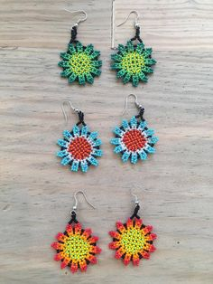 Huichol beaded Flower Earrings Set of 3 by NakaweMX on Etsy Seed Bead Earrings, Flower Earrings, Beaded Earrings, Seed Beads, Crochet Earrings, Fabric Jewelry, Beading Tutorials, Earring Set, Ankle