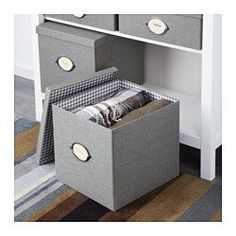 """IKEA - KVARNVIK, Box with lid, gray, 12 ½x13 ¾x11 ¾ """", , Perfect for newspapers, photos or other memorabilia.The included label holder helps you to create an overview to quickly find your things."""