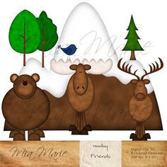 Woodsy Friends Clip Art for digital scraps, cards, crafts and more!  Bear, elk and moose.