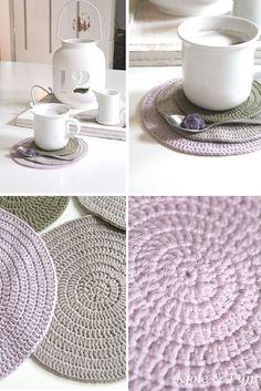 seidenfein 's Dekoblog: Häkeluntersetzer DIY (simpel) * chrochet coasters simple DIY *