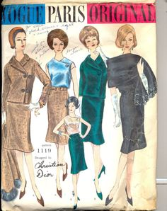 Vintage 1960's Women's Suit, Blouse and Scarf Pattern, Vogue 1119 Sewing pattern, Paris Original by Christian Dior