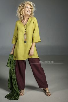 """Linden green flax linen INDIE Tunic worn over a linen """"Bulle"""" pants mahogany brown color -:- AMALTHEE -:- n° 3534 Fall Fashion Outfits, Boho Fashion, Casual Outfits, Womens Fashion, Simple Gown Design, Boho Ootd, Fashion For Petite Women, New Shape, Fashion Over 40"""