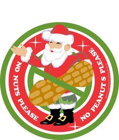 Christmas Santa No Peanuts Please Label