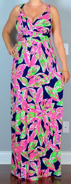 Outfit Posts: outfit post: pink floral v-neck lilly maxi, wedges