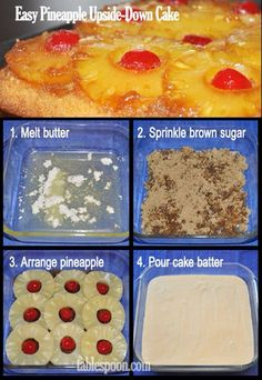 Easy Pineapple Upside-Down Cake Easy Pineapple Upside-Down Cake,Recipes Easy Pineapple Upside-Down Cake // made from a box. Also has low fat alternative and helpful tasty tips. Cake Mix Recipes, Baking Recipes, Yummy Recipes, Recipies, Köstliche Desserts, Dessert Recipes, Yummy Cakes, How To Make Cake, Chocolates