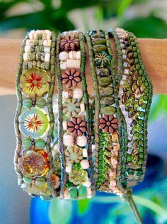 SUPERBLOOM pierres précieuses perles Bracelet de cuir 4 Wrap > forêt tropicale Jasper & tchèque Turquoise blanc verre Bracelets de fleurs/bouton de Blue Ridge