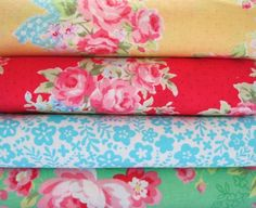 Shabby Chic Yellow With Blue Bows Floral Fat Quarter Bundle