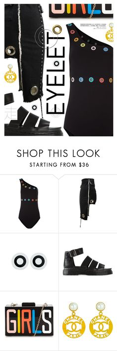 """""""Peek-A-Boo: Eyelet"""" by cultofsharon ❤ liked on Polyvore featuring Karla Colletto, Dr. Martens and Chanel"""