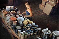Edith Heath with her ceramics. In the 1940's, she founded her business. For 60 years, she was the driving force at Heath Ceramics. She was influenced by the Bauhaus designers and by the work of Maria Martinez, an iconic Native American potter.