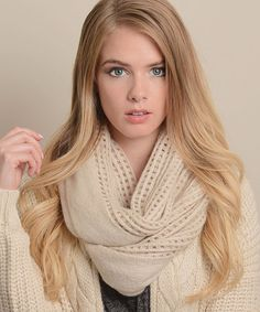 Oatmeal Open-Grid Infinity Scarf by Leto Collection #zulily #zulilyfinds