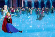 Elsa and Anna ice skating at the end of the movie. So cute! They're happy sister again! <3
