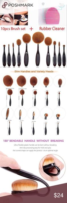 10pcs Foundation Brushes Set + Brush Cleaner This Expert Set includes the following brushes:Oval 10, Oval 9, Oval 8, Oval 7, Oval 6, Linear 5, Linear 4, Linear 3, Circle 2, and Circle 1.  The Brush hair is made of high quality synthetic fiber hair which is super soft and comfortable for the skin.  Package includes; 10 pcs Brushes Set & Brush Cleaner. Makeup
