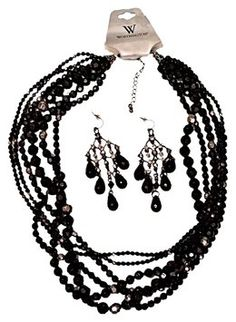 Mixit & Worthington Daily Deal - Jet Black Statement Necklace & Earring Set - Gift Priced Special