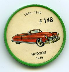 """Jello-O Coin 148 - Hudson (1949) - The '49 Hudson reintroduced the """"step-down"""" body design initiated by Cord to promote a lower centre of gravity for passenger safety. The famous Hudson """"wet clutch"""" enclosed in a bath of oil was continued, as well as the"""