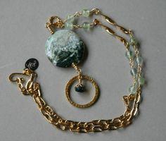 Ocean Jasper and Prehnite Gold Accented Eyeglass Lanyard