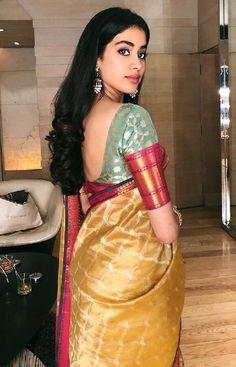 Beautiful Photos of Jhanvi Kapoor - Buy lehenga choli online Beautiful Girl Indian, Beautiful Saree, Beautiful Indian Actress, Beautiful Gorgeous, Beautiful Women, Saree Blouse Neck Designs, Fancy Blouse Designs, Dress Designs, Sleeve Designs