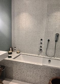 Alameda Honed Terrazzo, tiles, bath panel and bath surround. Bathroom Spa, Wood Bathroom, Small Bathroom, Tiled Bath Panel, Bath Tiles, Bad Inspiration, Bathroom Inspiration, Bathroom Styling, Bathroom Interior Design