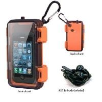 very water resistant, rugged---outdoor case for iphone, Android, mp3 player, etc. waterproof earbuds