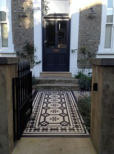 Islington Victorian mosaic tile path York stone sandstone paving wrought iron rails and gate London Victorian Front Garden, Victorian Front Doors, Victorian Cottage, Victorian Terrace, Victorian Homes, Front Garden Path, Front Path, Front Gardens, Victorian Mosaic Tile