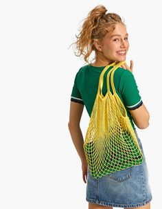 Mesh bag - Just In | Stradivarius United Kingdom Drawstring Backpack, Mesh, Backpacks, Yellow, United Kingdom, Bag, Women, Accessories, Fashion