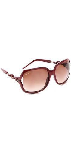 Gucci Chain Link Square Sunglasses | SHOPBOP