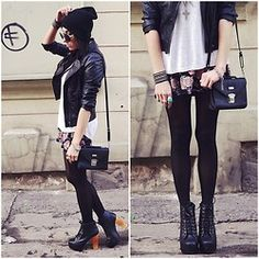leather jacket, loose top, leggings + ankle-high boots (or combat)