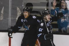 San Jose Sharks forwards Joe Pavelski + Tommy Wingels are all smiles after Pavelski scored a third period goal (April 20, 2014).
