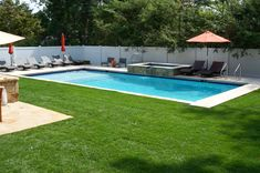 Beautiful inground #swimmingpool with walk down steps. Save a trip to the beach and enjoy a nice relaxing drink by the pool.   www.guspools.com