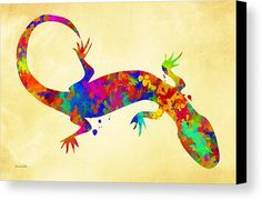 Gecko Canvas Print Featuring The Painting Watercolor Art By Christina Rollo