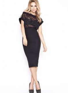 Try: One of my black lace tops and pencil skirt