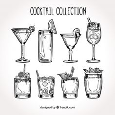 More than 3 millions free vectors, PSD, photos and free icons. Exclusive freebies and all graphic resources that you need for your projects Cocktails Clipart, Craft Cocktails, Cocktails Drawing, Winter Drink, Don Du Sang, Easy To Digest Foods, Cocktail Illustration, Tequila Sunrise, Cocktail Menu