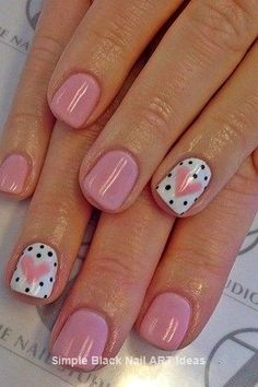 Heart+ black polka dot nail art design on accent nails and blush pink. Easy and… Heart+ black polka dot nail art design on accent nails and blush pink. Easy and Original Valentine's Day Nail Art and Designs. Nail Art Cute, Dot Nail Art, Polka Dot Nails, Nail Art Diy, Diy Nails, Manicure Ideas, Polka Dots, Nail Ideas, Makeup Ideas