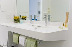 If you're involved in any type of design that includes residential, healthcare or hospitality where water is used, you need a sink. In fact, sinks are so common we might minimize how much they can impact a good design. Corian Top, Dupont Corian, Solid Surface, Kitchen And Bath, Master Bath, Kitchen Design, Cool Designs, Storage Units, Sinks