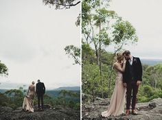 Things to love here: Her dress is just so unique and beautiful—I love the glitz'd up side panels, obviously the location—so hidden with the perfect mix of mountain rocks and trees, and lastly the groom bc damn those pants are fine. Need I bother saying this is in Australia, where all good weddings seem to be!