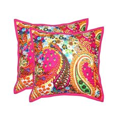 Indian Cushion Cover Kantha Work VEG Multi Pink Ethnic Throw Decor Art LK4 16"