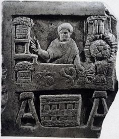 Note the trestles holding up his table. Funerary Relief of a Vegetable Vendor, from Ostia, Italy, ca.150-200, painted terracotta, Ancient Roman, High Empire, Antonine, 138-192.