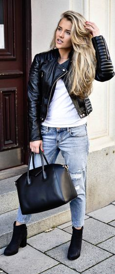 LEATHER AND JEANS / Fashion By Molly Rustas