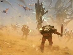 "Fleshtearers vs nids ""I love 'at-least-semi-realistic' 40k artwork, this looks super badass. """