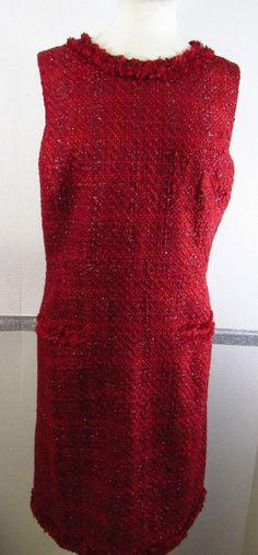 Lands' End Sheath Dress 18 Dark Red Sleeveless Metallic Knee Length NWOT Festive #LandsEnd #Sheath #Festive
